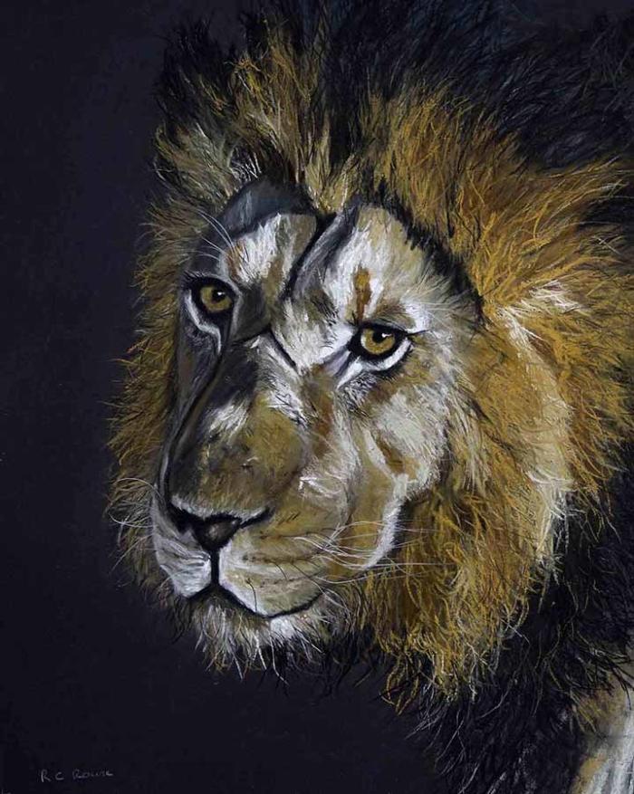Battle Scarred Leo lion mane pastel portrait