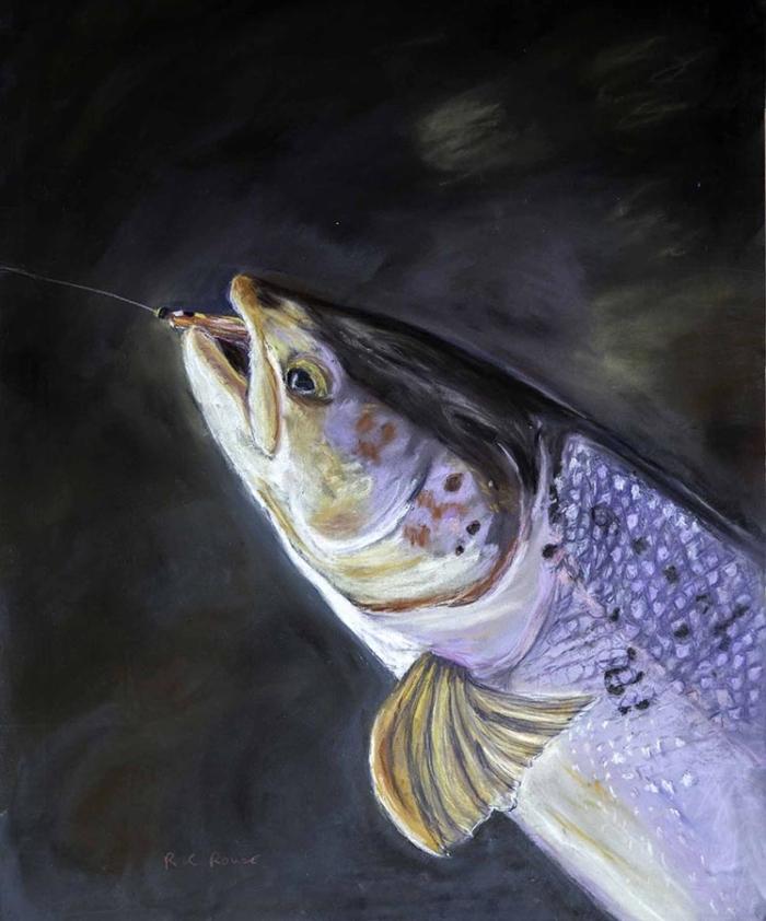 Gently back in the Dee - Salmon-kelt fly-fishing pastel portrait