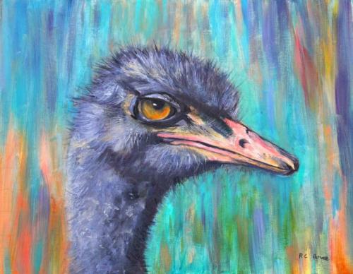 I see you with my beady eye oil painting Ostrich Turquoise bright