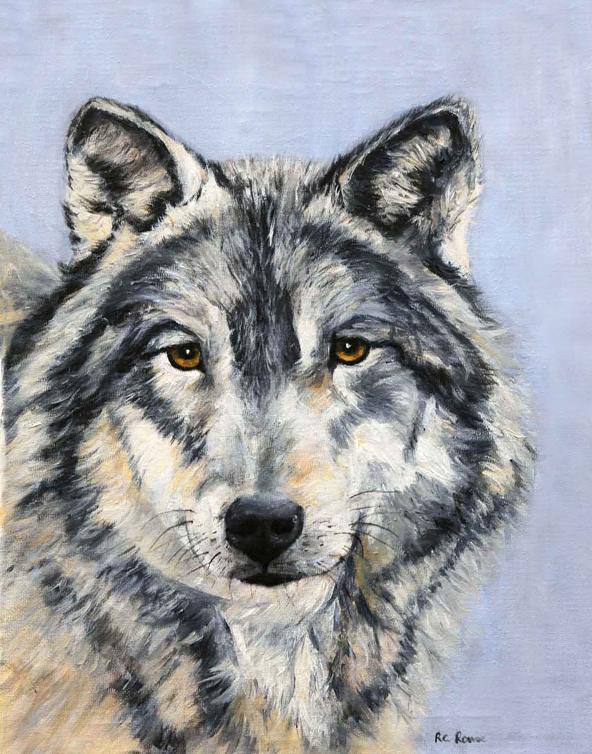 wolf oil painting full face blue background